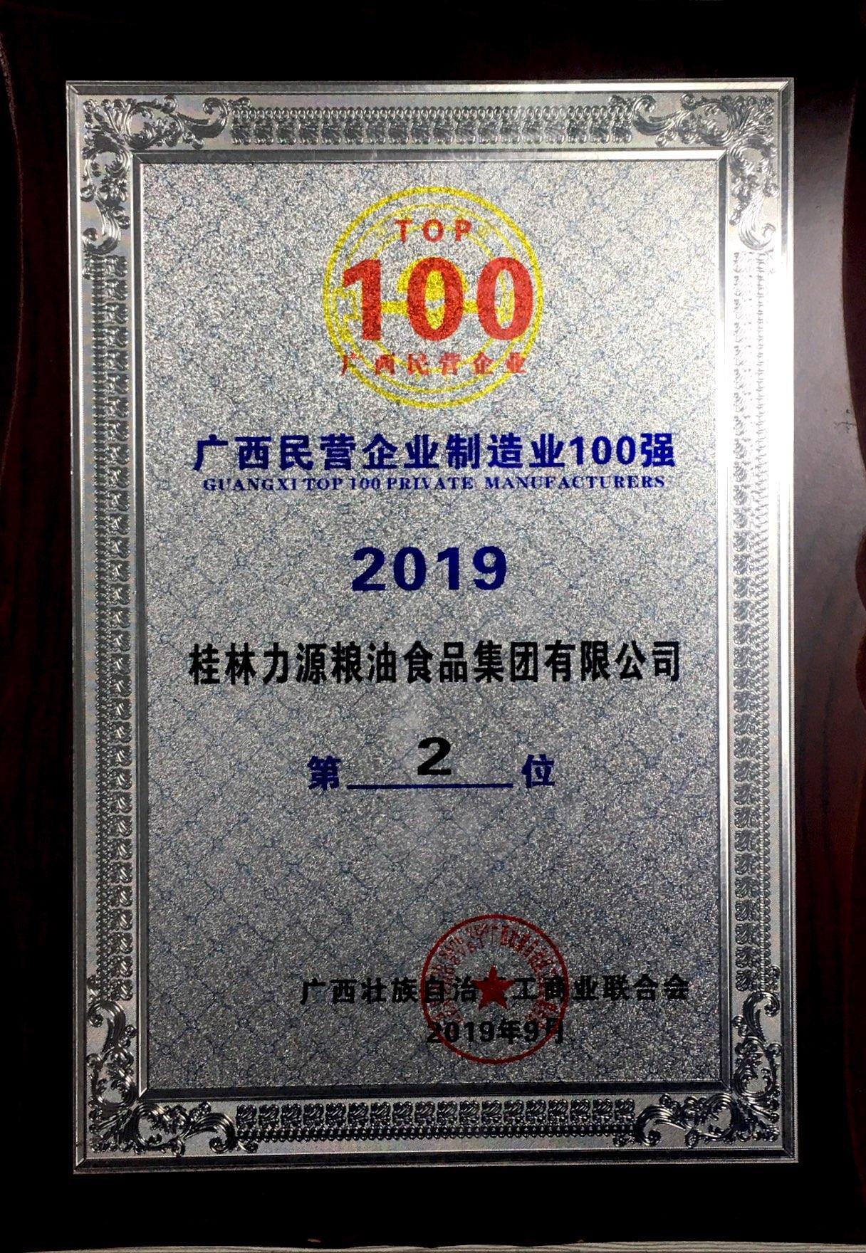 2019年广西民营企业制造业100强第二名